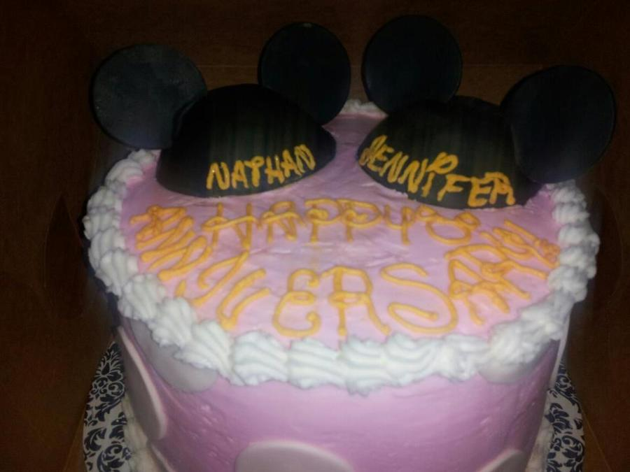 Mickey And Minnie Hat Anniversary Cake  on Cake Central