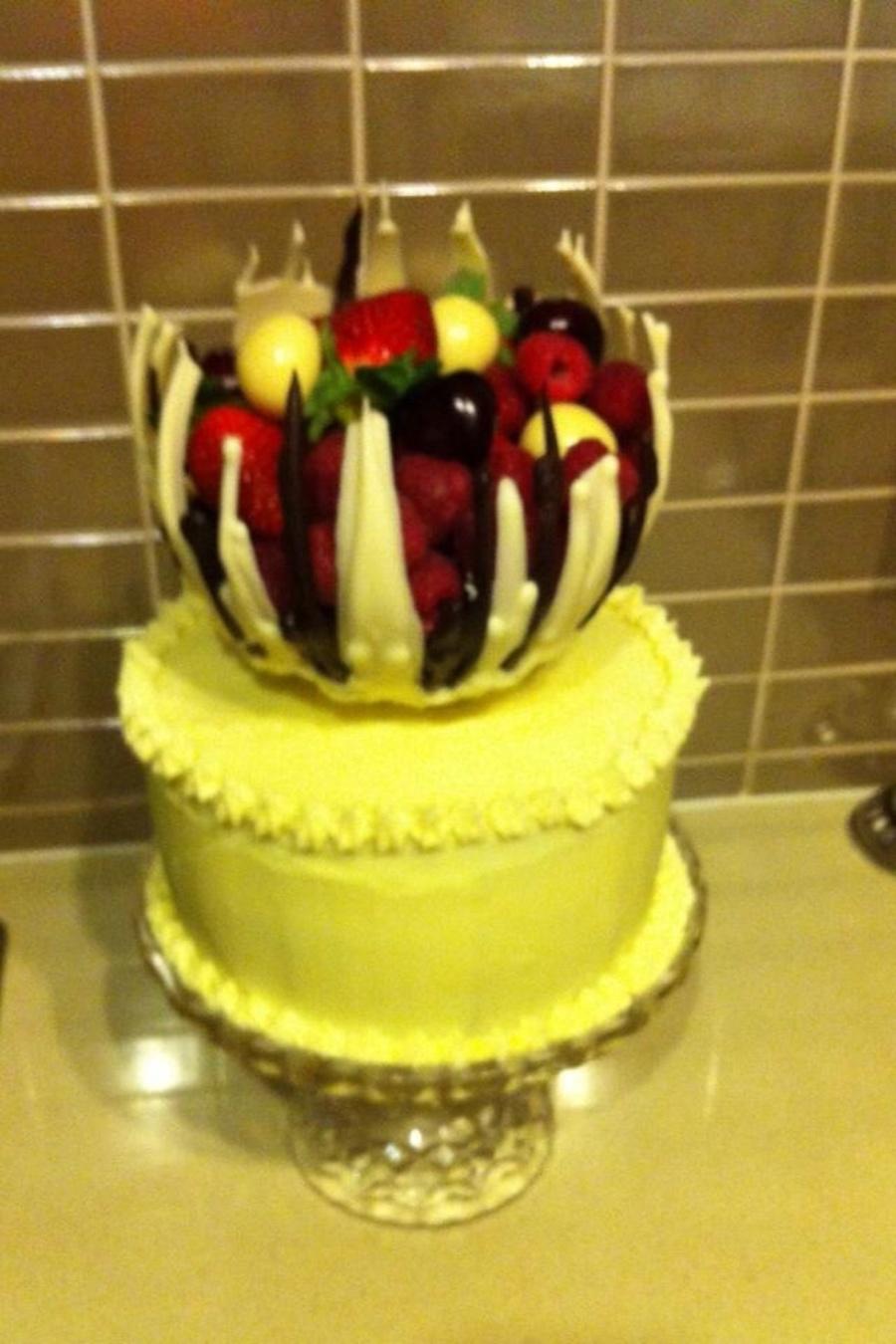 White Choc Mud Cake With Choc Fruit Filled Bowl