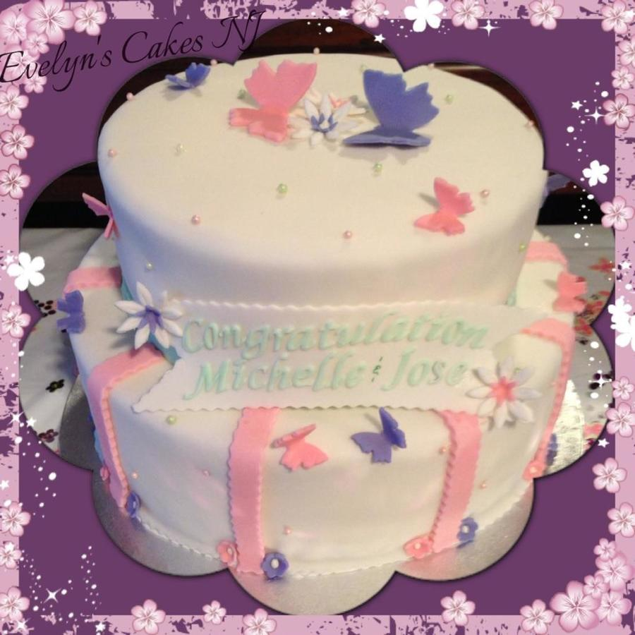 Butterflies Baby Shower Cake Dominican Cake W A Layer Of Strawberry Jam Amp  Layer Of Vanilla Custard