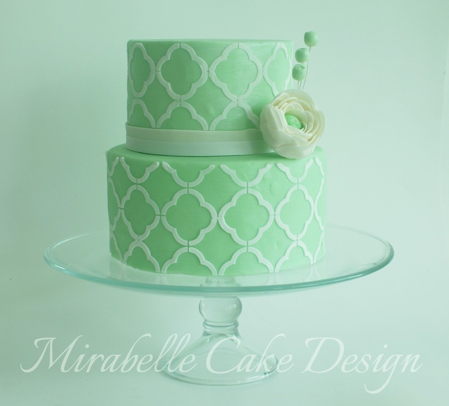 Quatrefoil Royal Icing Stencil With Gum Paste Ranunculus