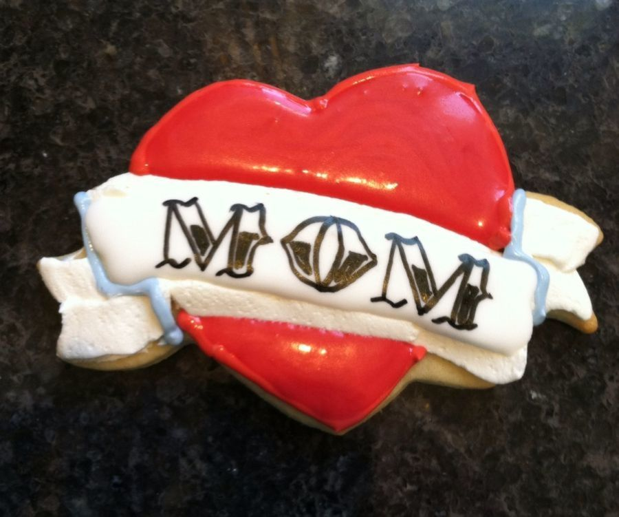 Mothers Day Sugar Cookie With Buttercream And Royal Icing Banner And Cookie Glace On Heart on Cake Central