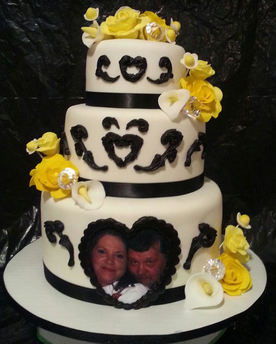 Yellow And Black Wedding on Cake Central
