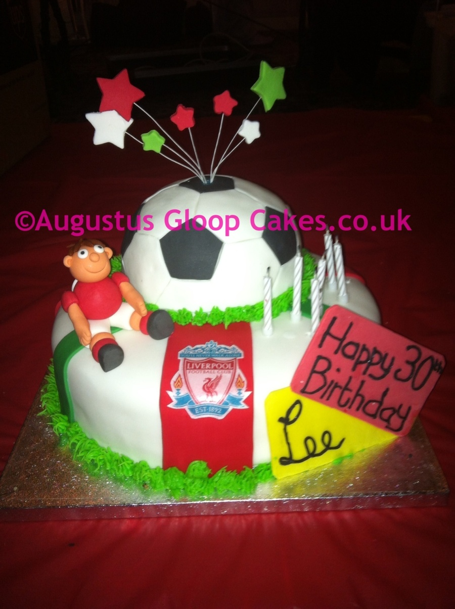 Liverpool Football Club 30th Birthday Cake With Sugar Paste Player