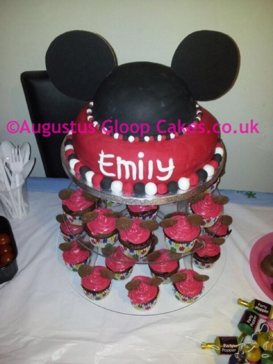 Mickey Mouse Ear Cake And Cupcakes  on Cake Central