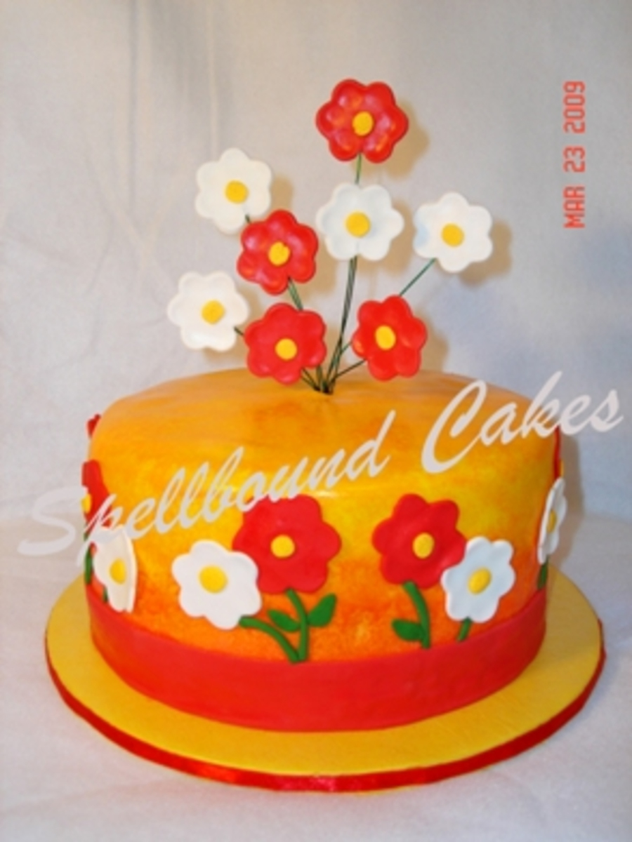 Red And Yellow Cake  on Cake Central