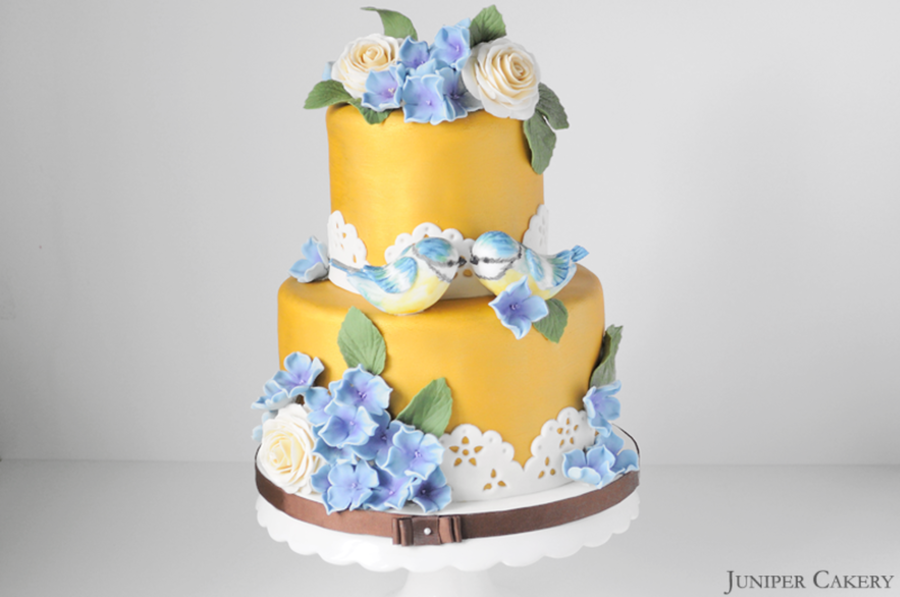 Gold Blue Tit Wedding Cake - CakeCentral.com