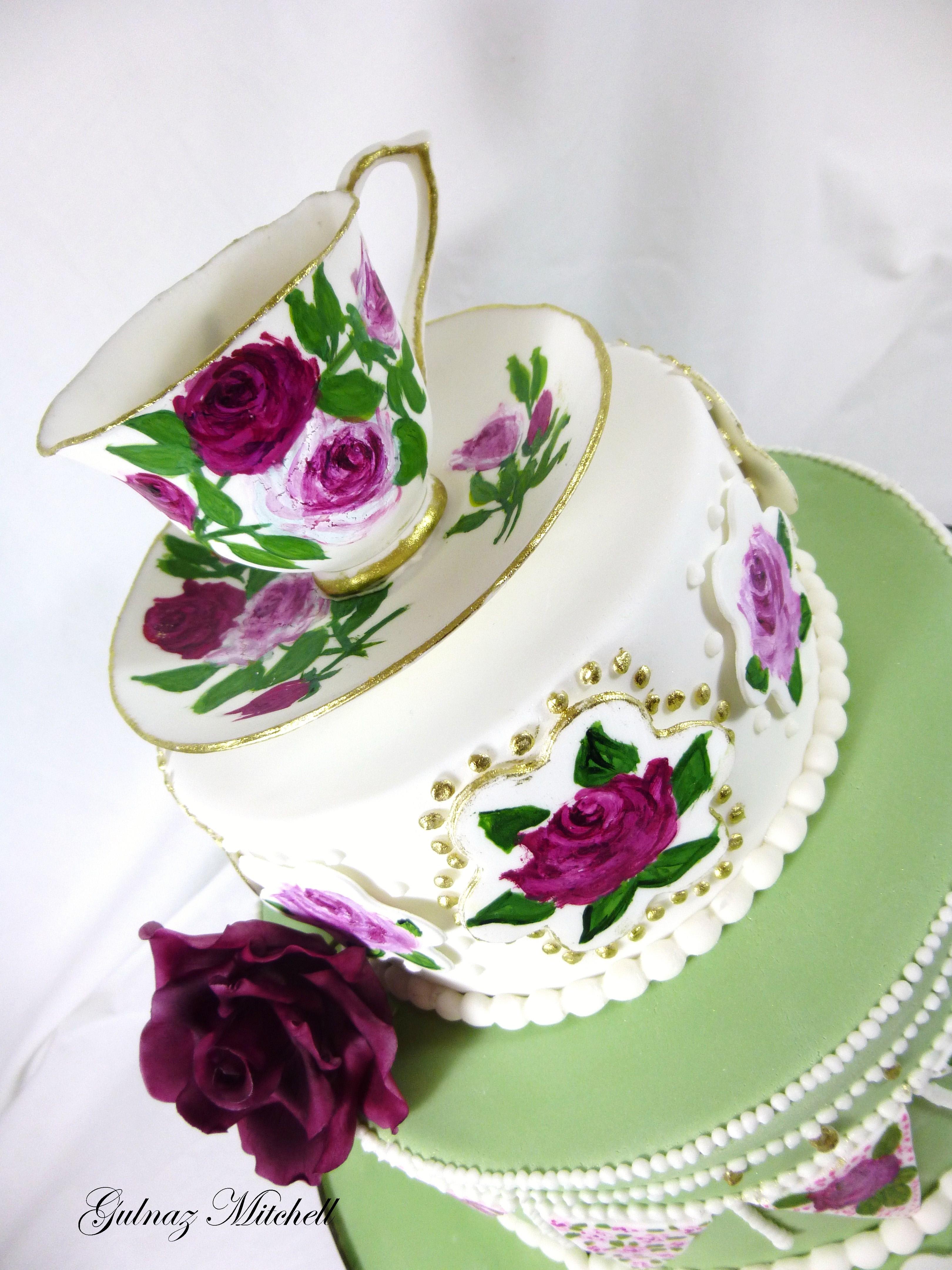 Free Hand Painted English High Tea Theme Cake With Hand