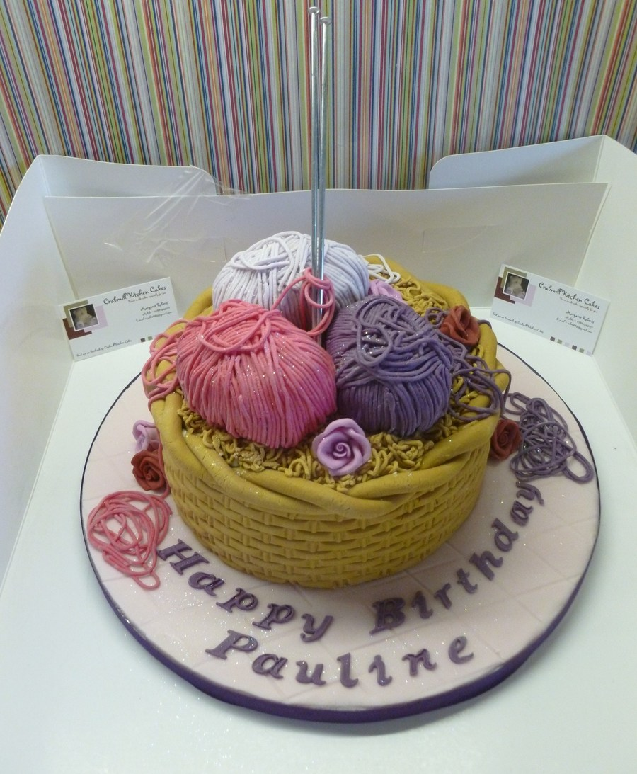 My Take On The Knitting Basket Cake on Cake Central