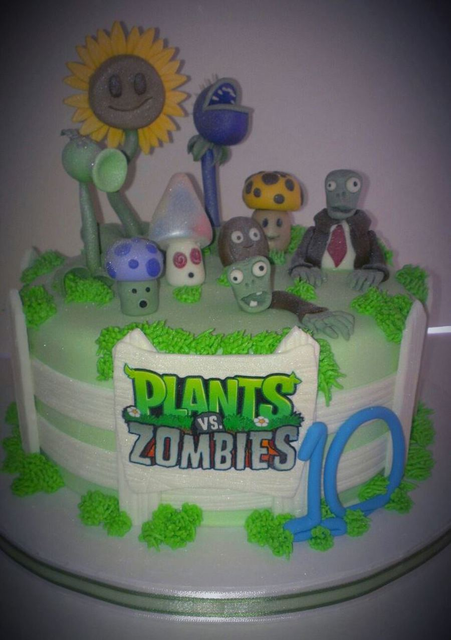 Plants Vs Zombies Themed Birthday Cake  on Cake Central