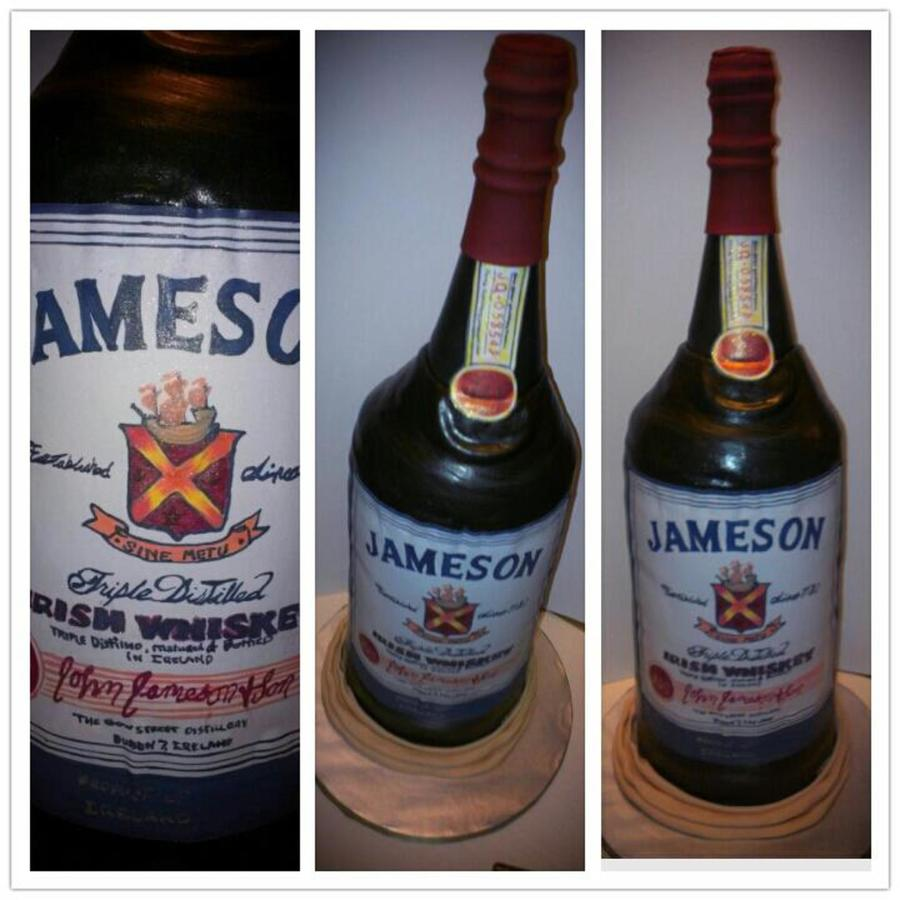 Jameson Whiskey Bottle Cake With Hand Painted Labels on Cake Central