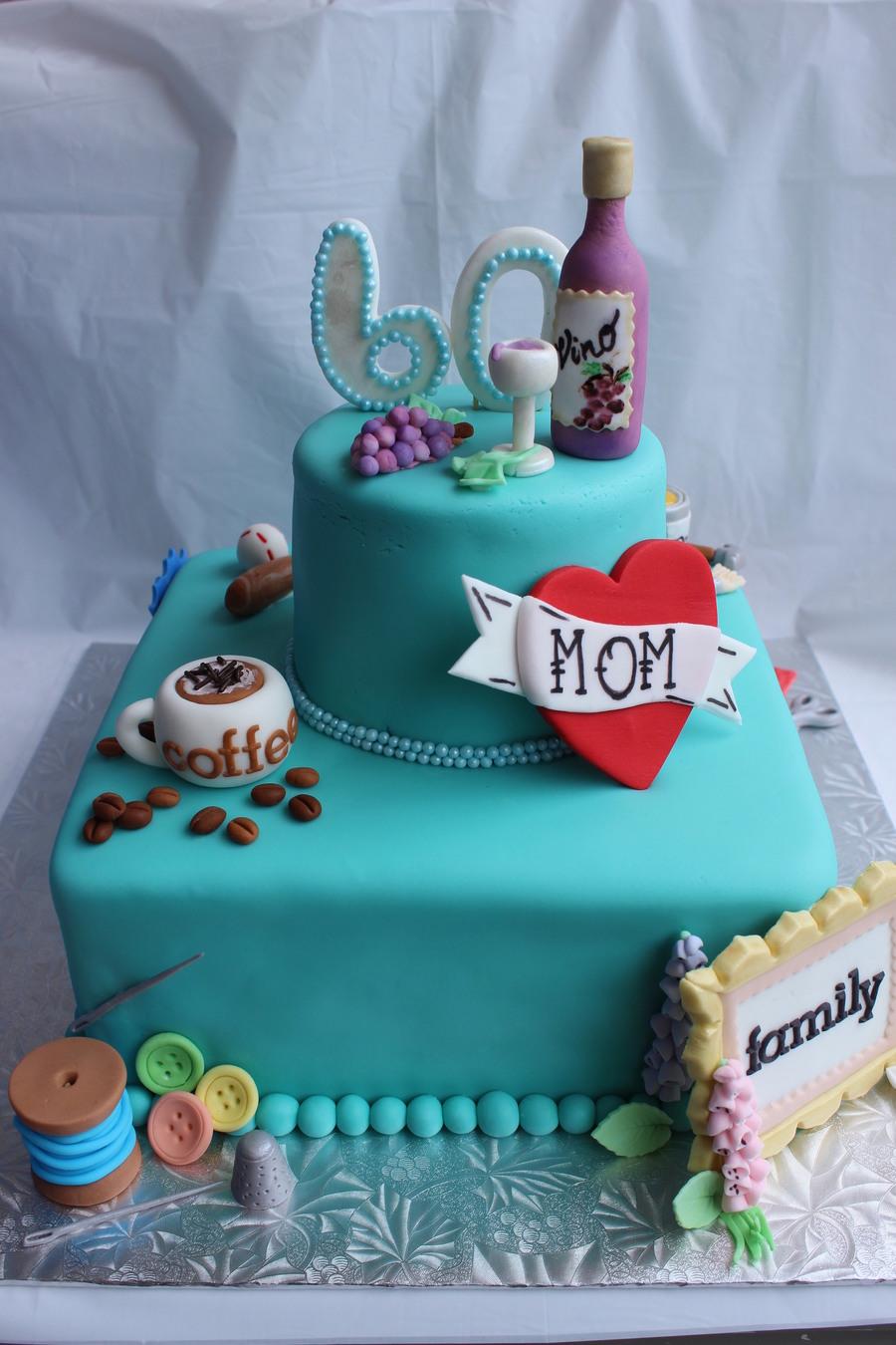60th My Favorite Things Birthday Cakes Coffee Wine Family