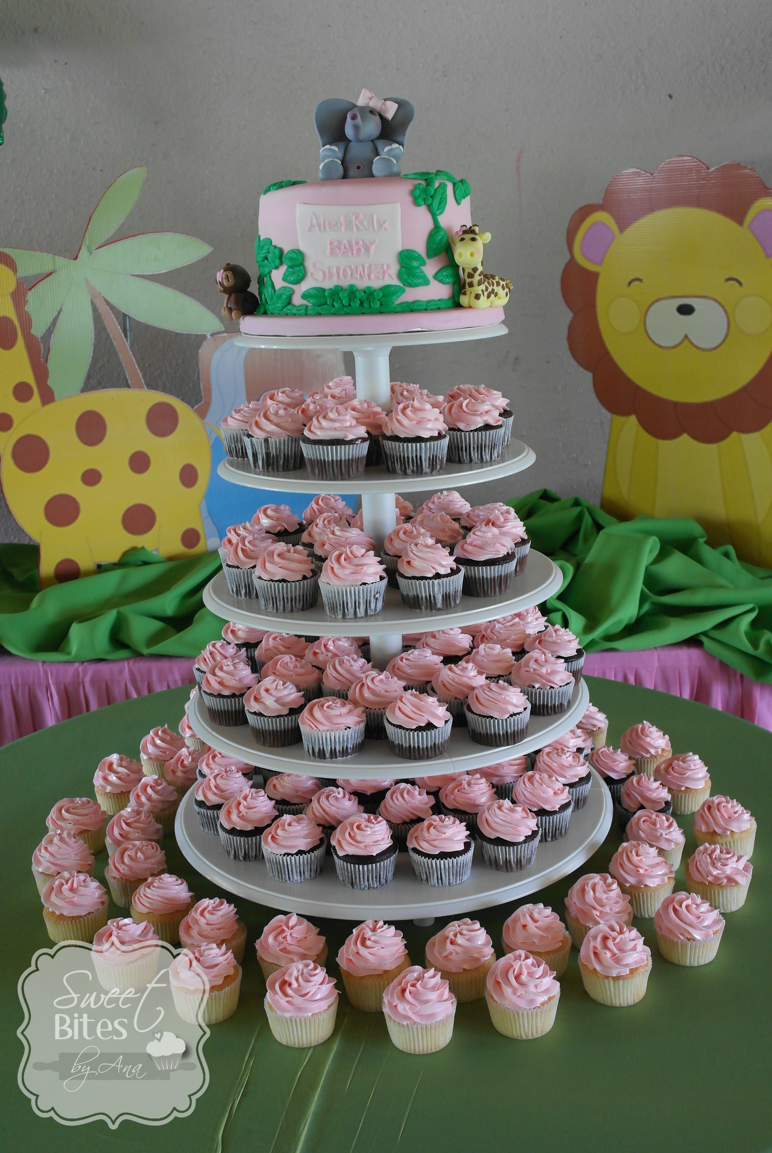 Jungle Theme Girl Baby Shower Cake CakeCentral