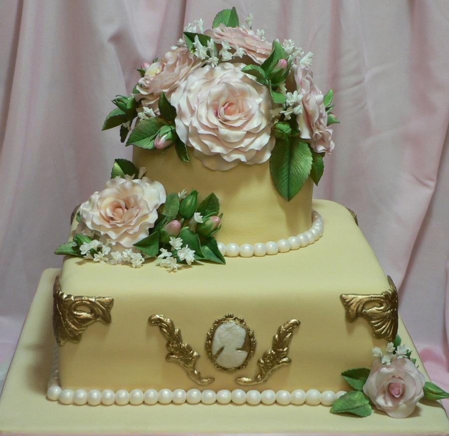 Rose Wedding Cake: Vintage Rose Wedding Cake