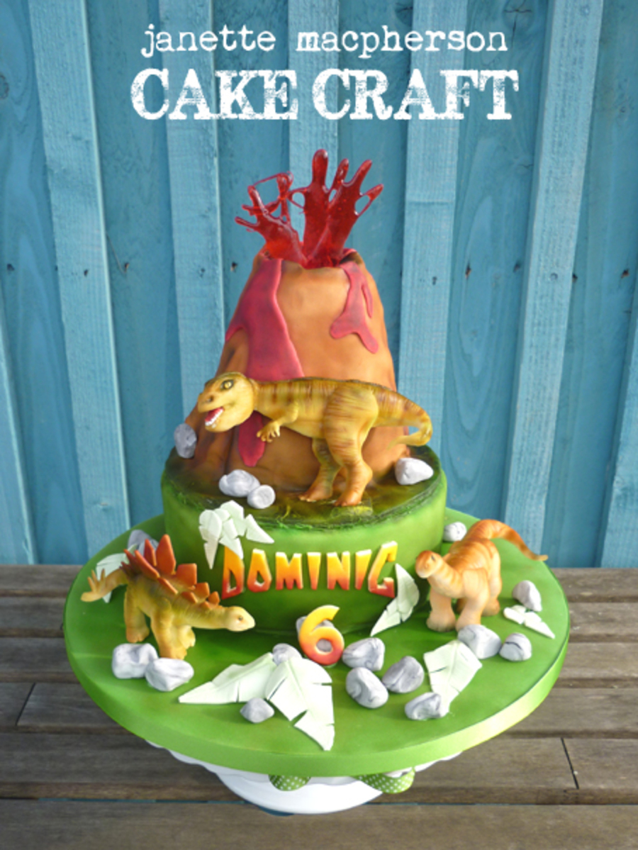 Volcano Birthday Cake With Dinosaurs All Hand Modelled In Sugarpaste