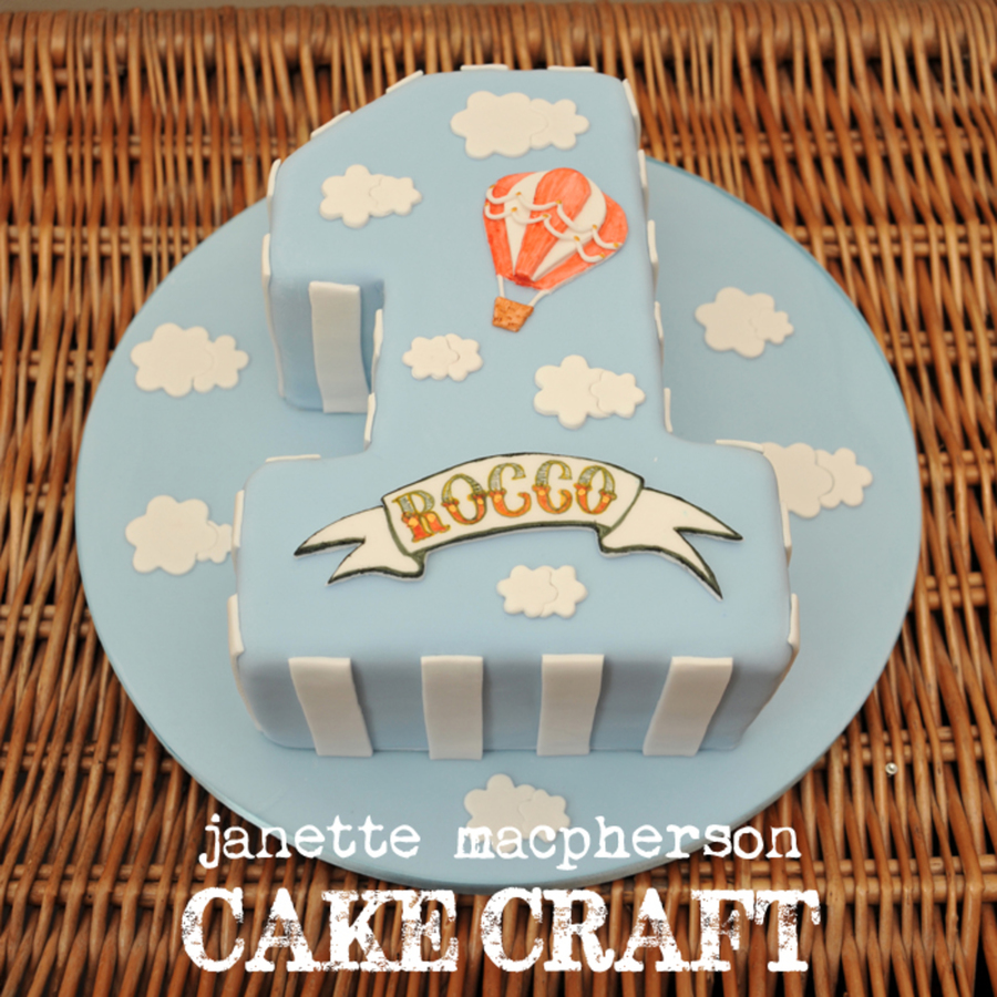 Vintage Hot Air Balloon Cake Boys First Birthday Hand Painted Name