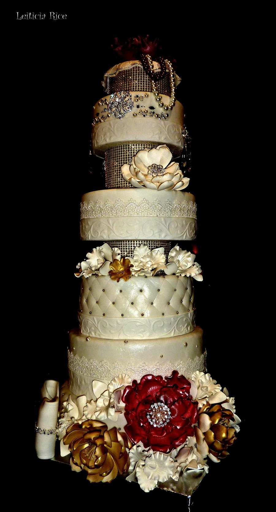 red and gold wedding cake 8 tier gold and wedding cake cakecentral 19076