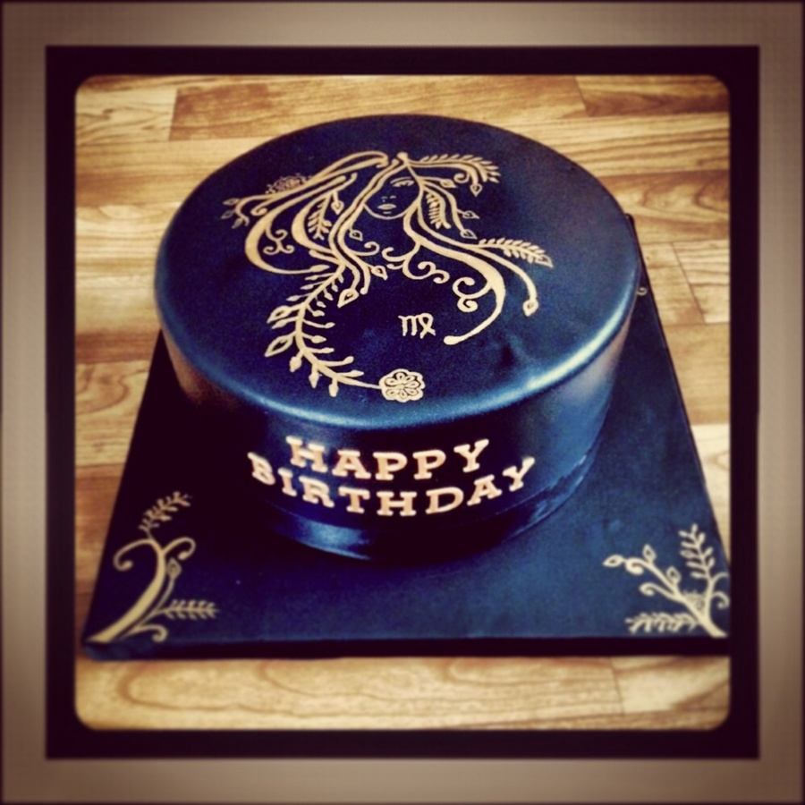 Hand Painted Cake With A Virgo Design Cakecentral Com