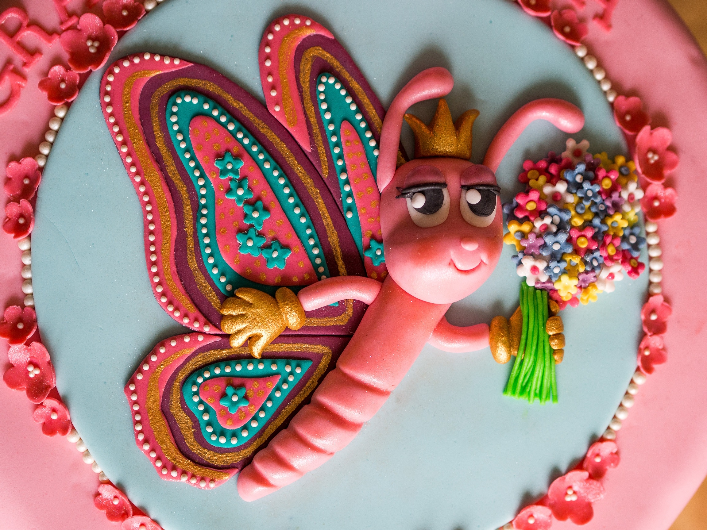 Butterfly Birthday Cake This Was A 23 Cm Strawberry Layer