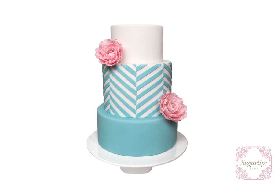 Chevron & Peonies on Cake Central