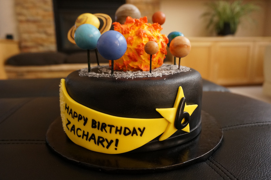 solar system birthday cake with fondant pla s