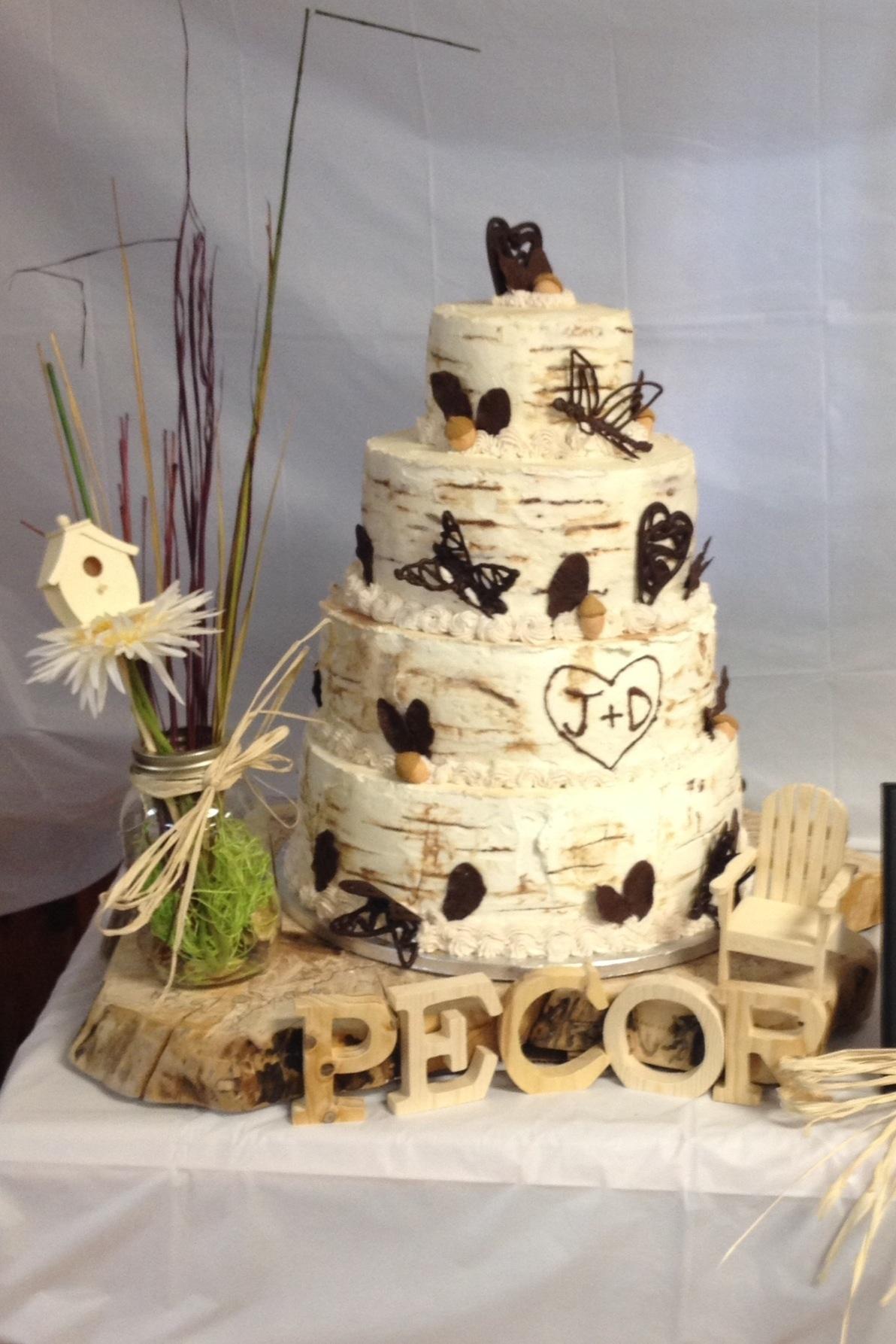 Wood Themed Wedding Cake
