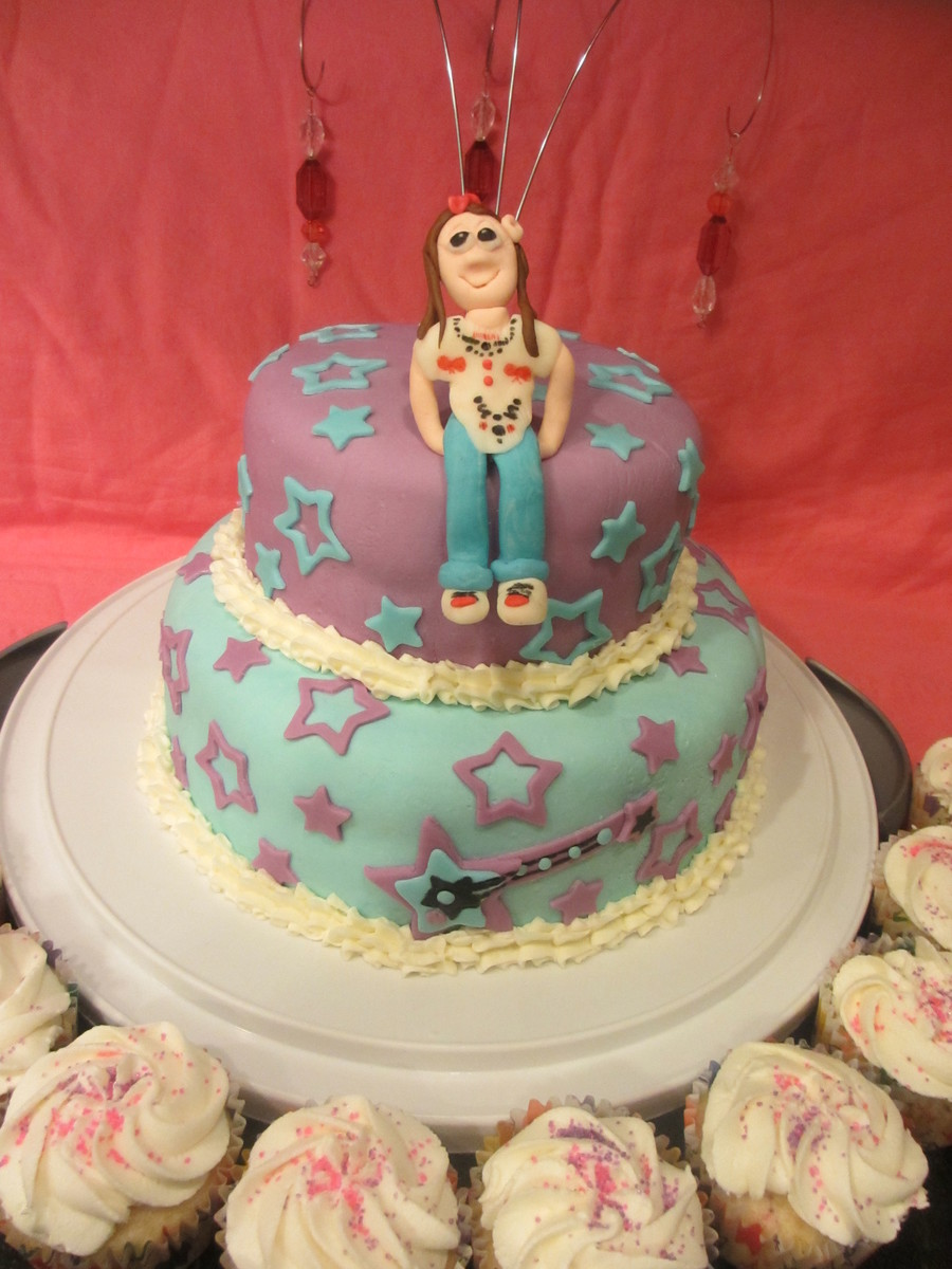 Caricature Of A Teenager (Gumpaste Topper) On Fondant Rockstar Cake on Cake Central