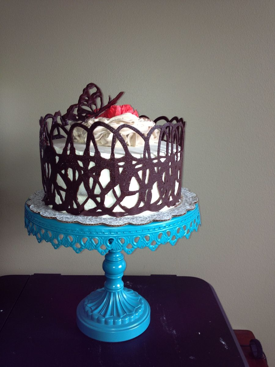 Chocolate Cherry Layer Cake Covered In Whip Cream With A Chocolate Lace Collar on Cake Central