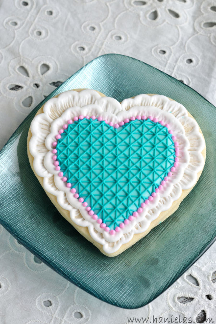 Brushed Embroidery Lace Heart Cookies on Cake Central