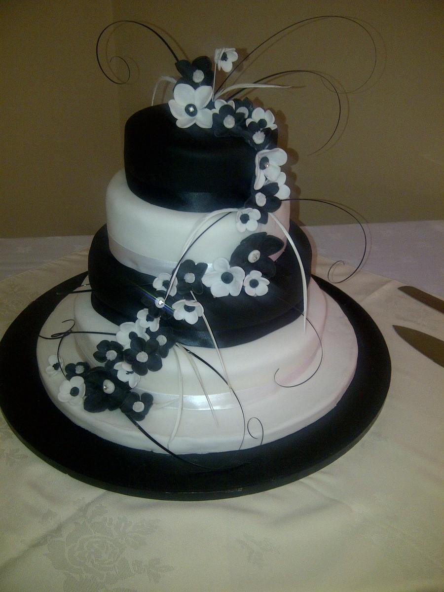4 Tier Black And White Wedding Cake on Cake Central