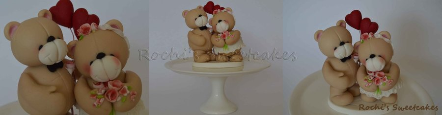 Forever Friends Bear Couple Cake Topper For A Wedding Aniversary