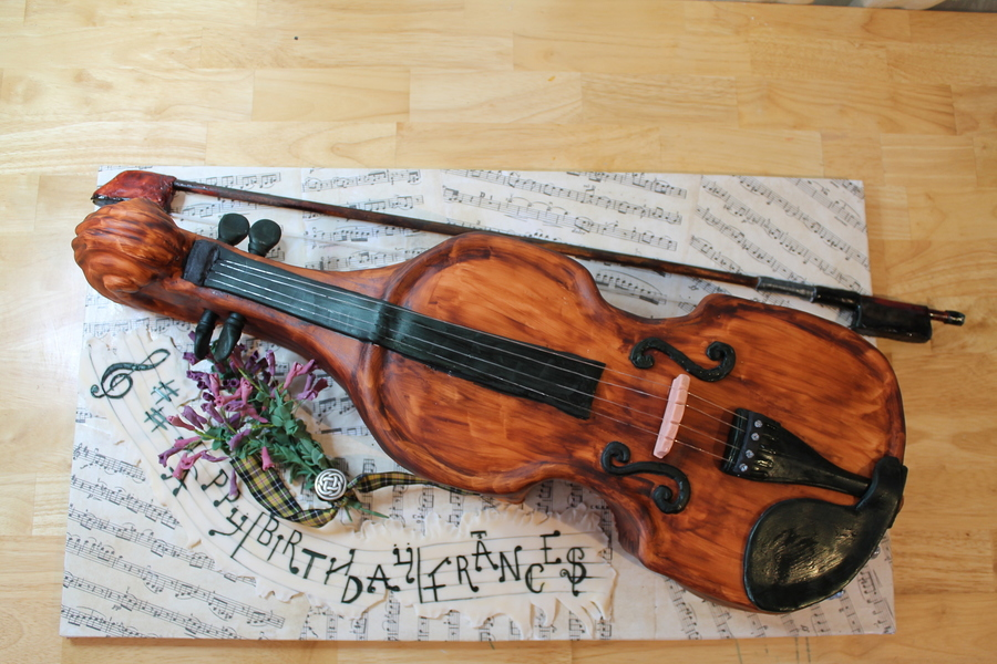 11 Scale Violin Cake For A 50Th Birthday on Cake Central