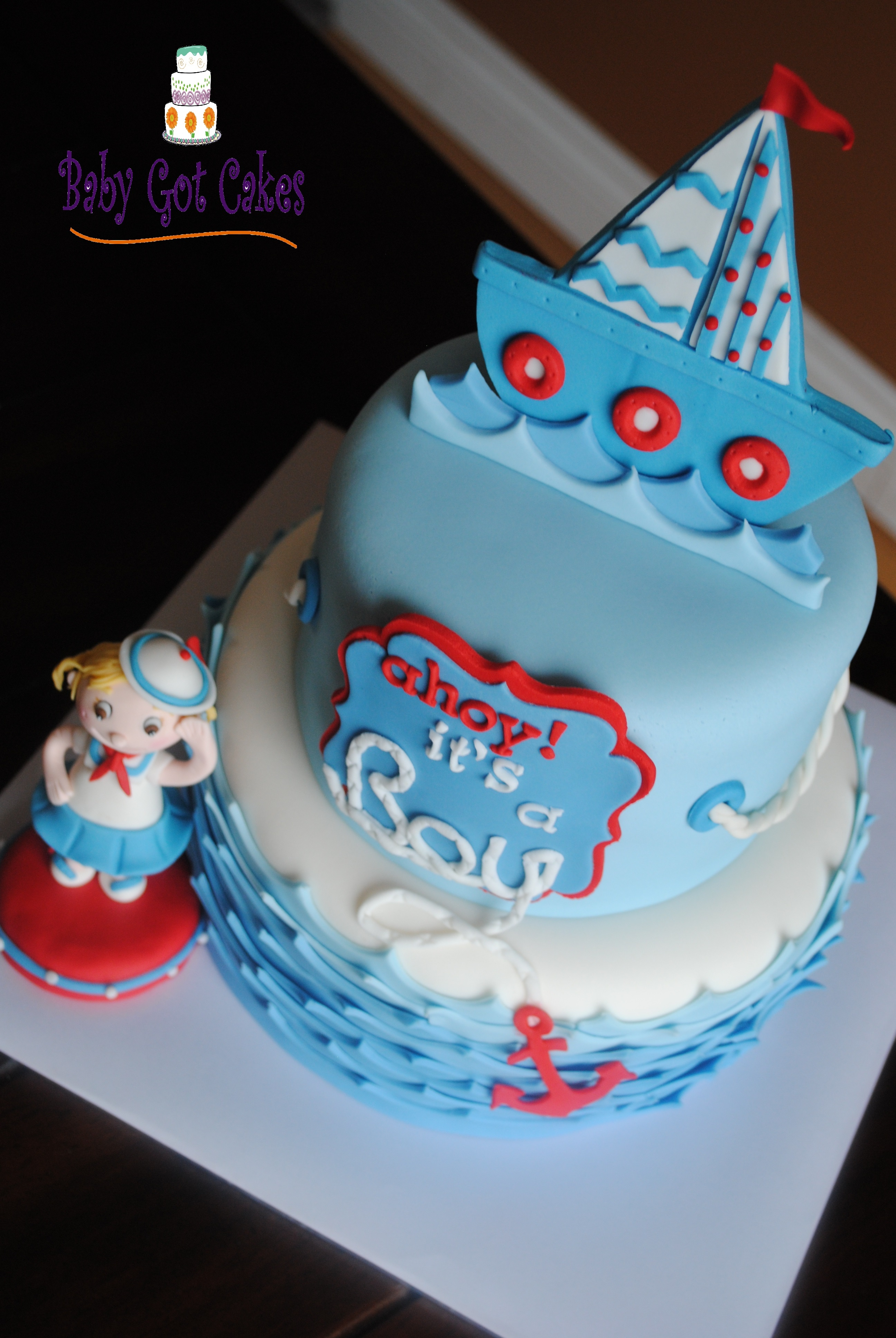 Nautical Baby Shower Two Tier CakeCentral