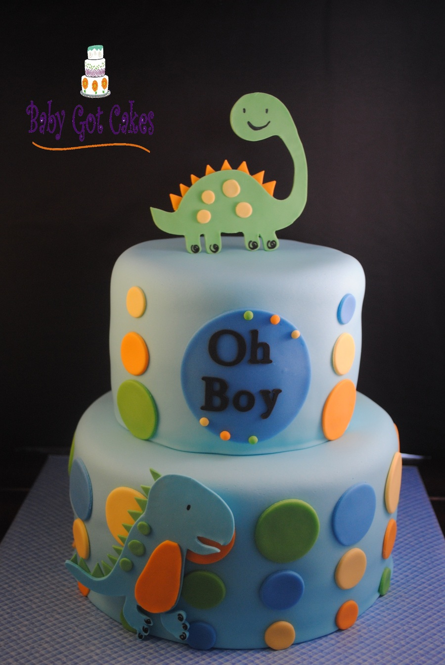 Dino Dudes Two Tier Covered In Fondant With