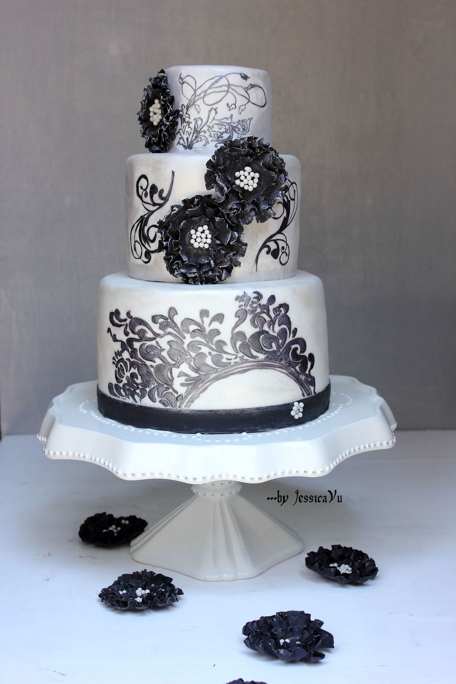 Filigree Hand-Painted Cake on Cake Central