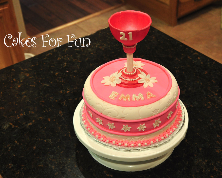 21St Birthday Pink And White Wine Glass Cake On Central