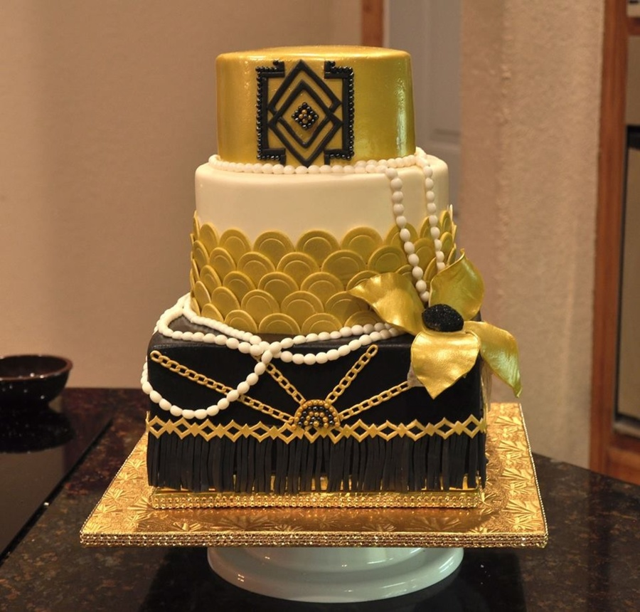Great Gatsby Themed Party Cake Art Deco Style With Gold