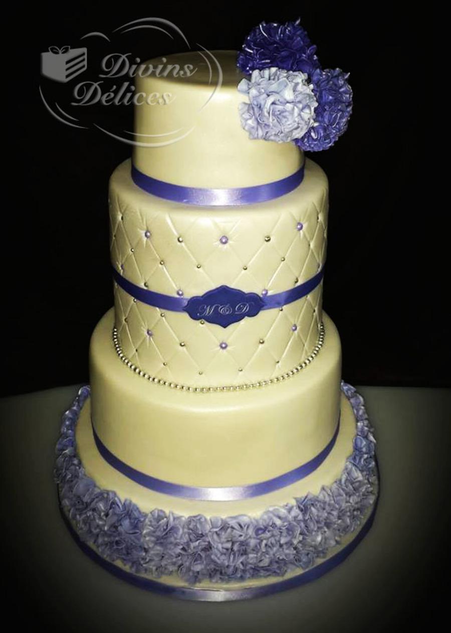 White Purple Wedding Cake Sugar Pom Pom - CakeCentral.com