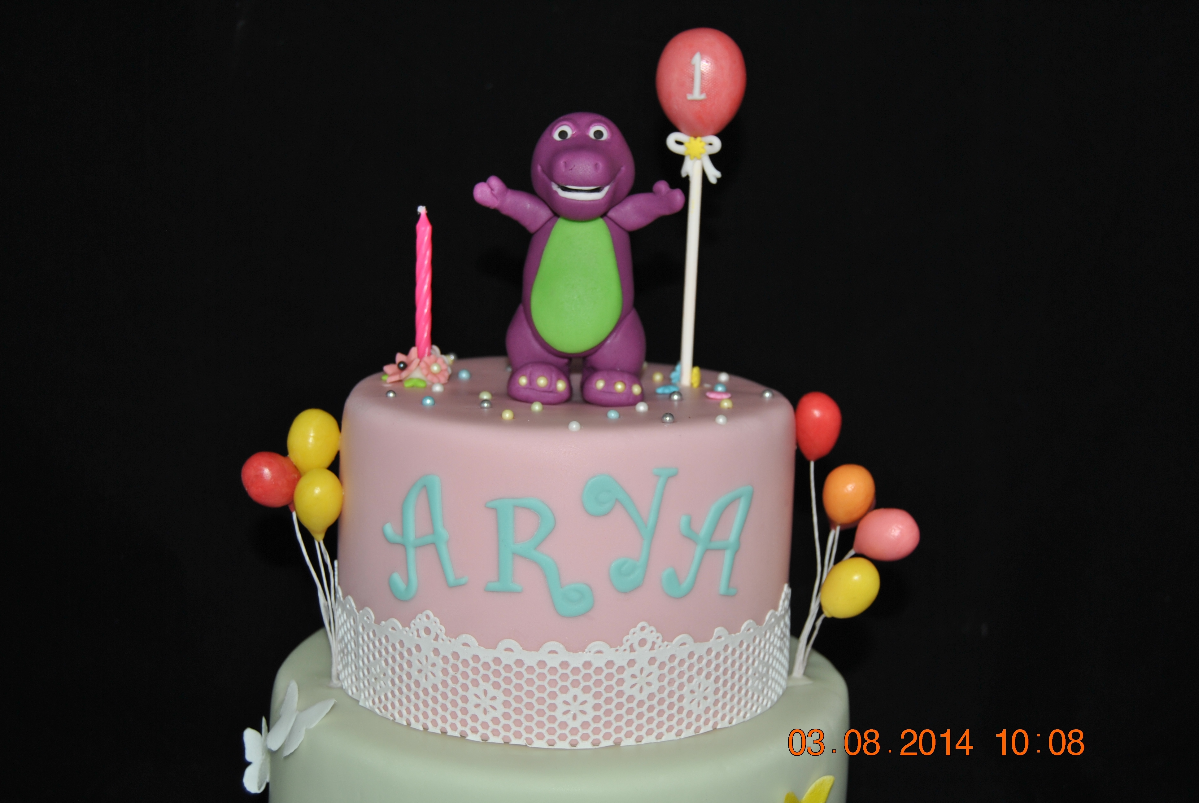 My First Time To Make Barney Theme Cake Chocolate With Buttercream Frosting Ganache And MMF Balloons Were Made From Fruitella