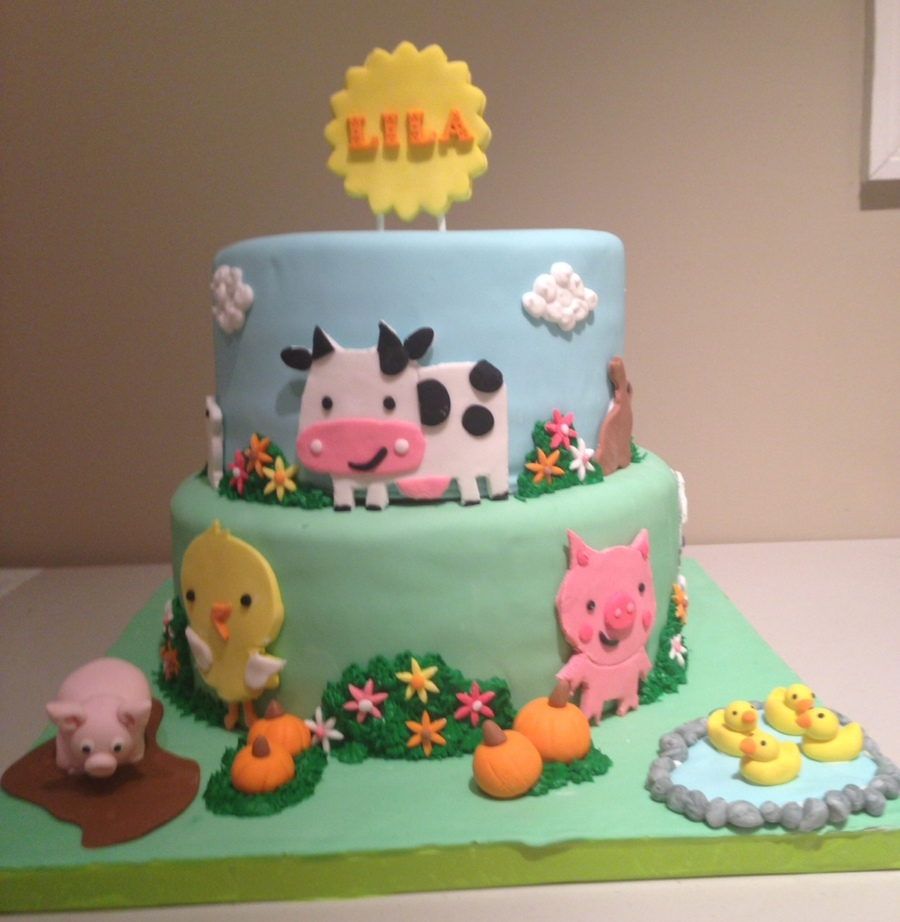 First Birthday Farm Animal Cake CakeCentralcom