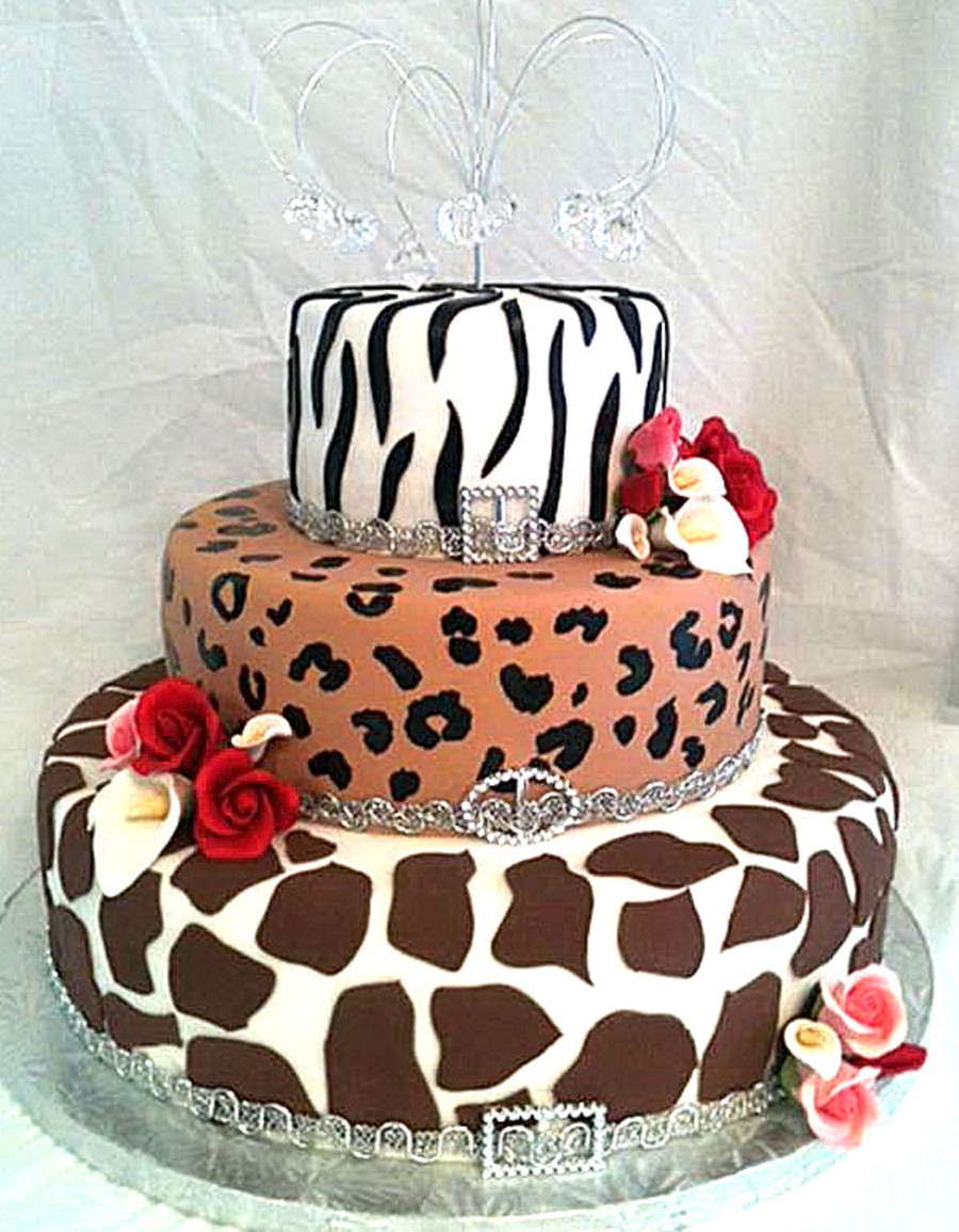 Zebra Print Leopard Print Giraffe Print Birthday Cake
