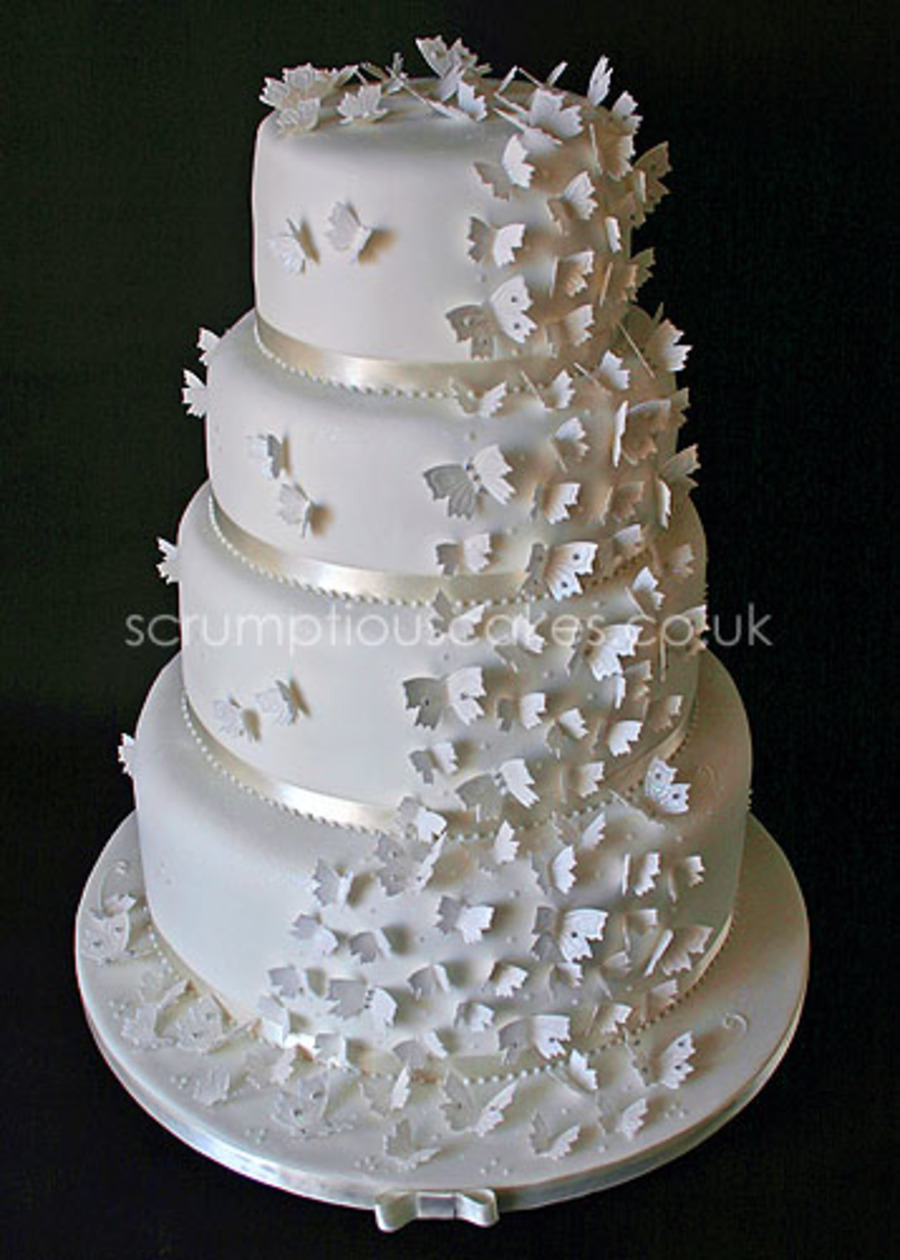 Butterfly Cascade Wedding Cake on Cake Central
