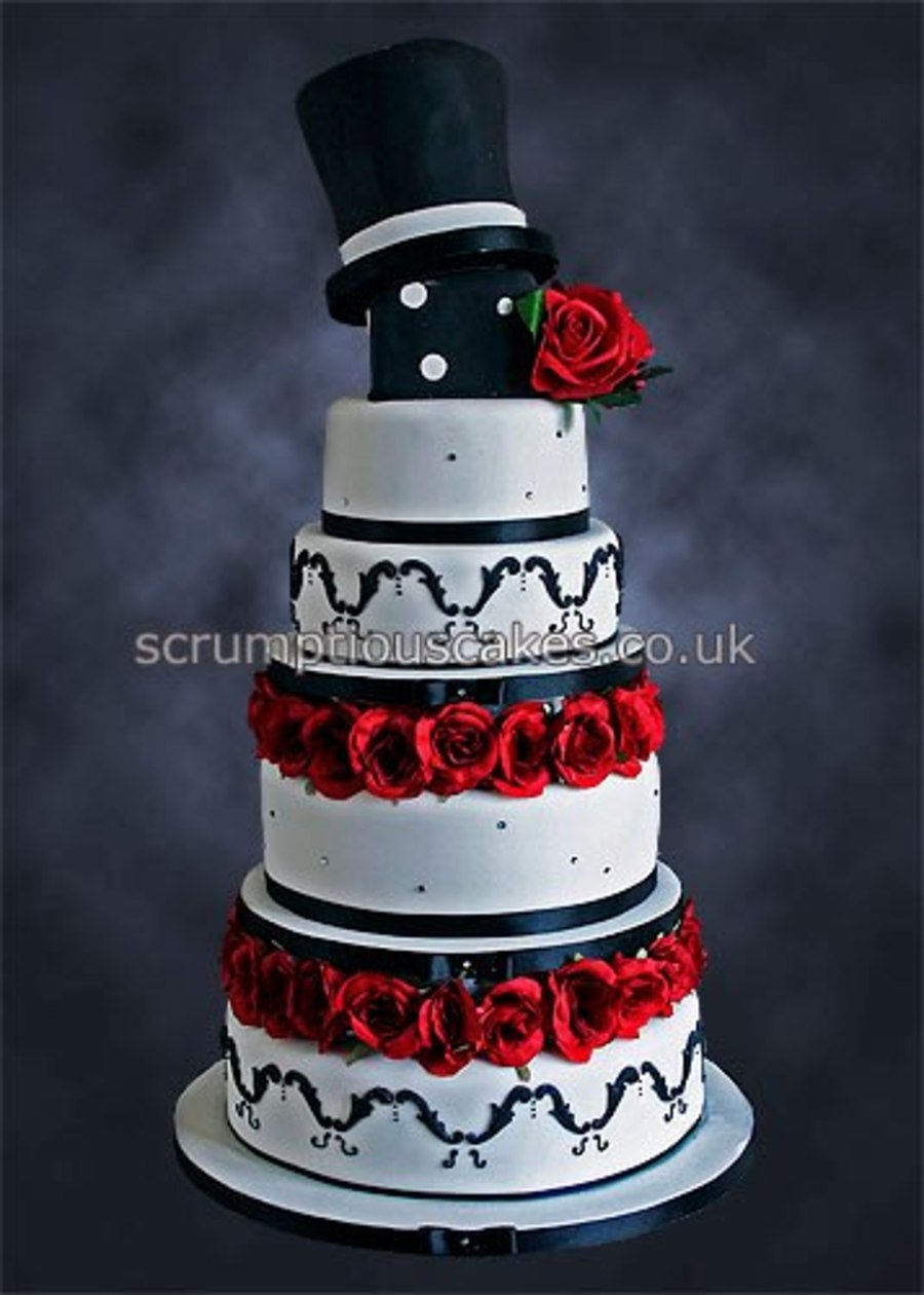Black & Red Wedding Cake on Cake Central