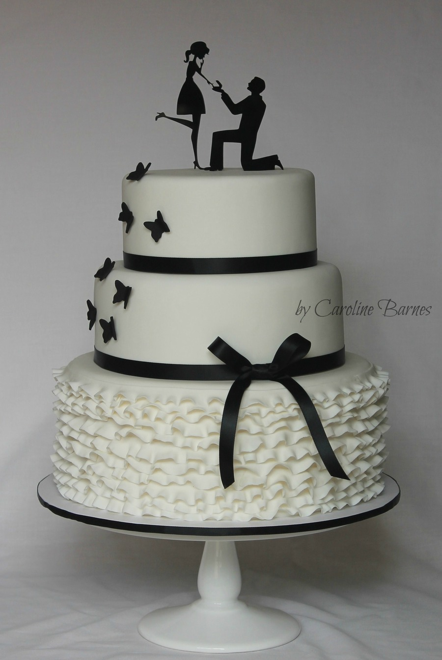 Black And White Silhouette Engagement Cake Cakecentral Com