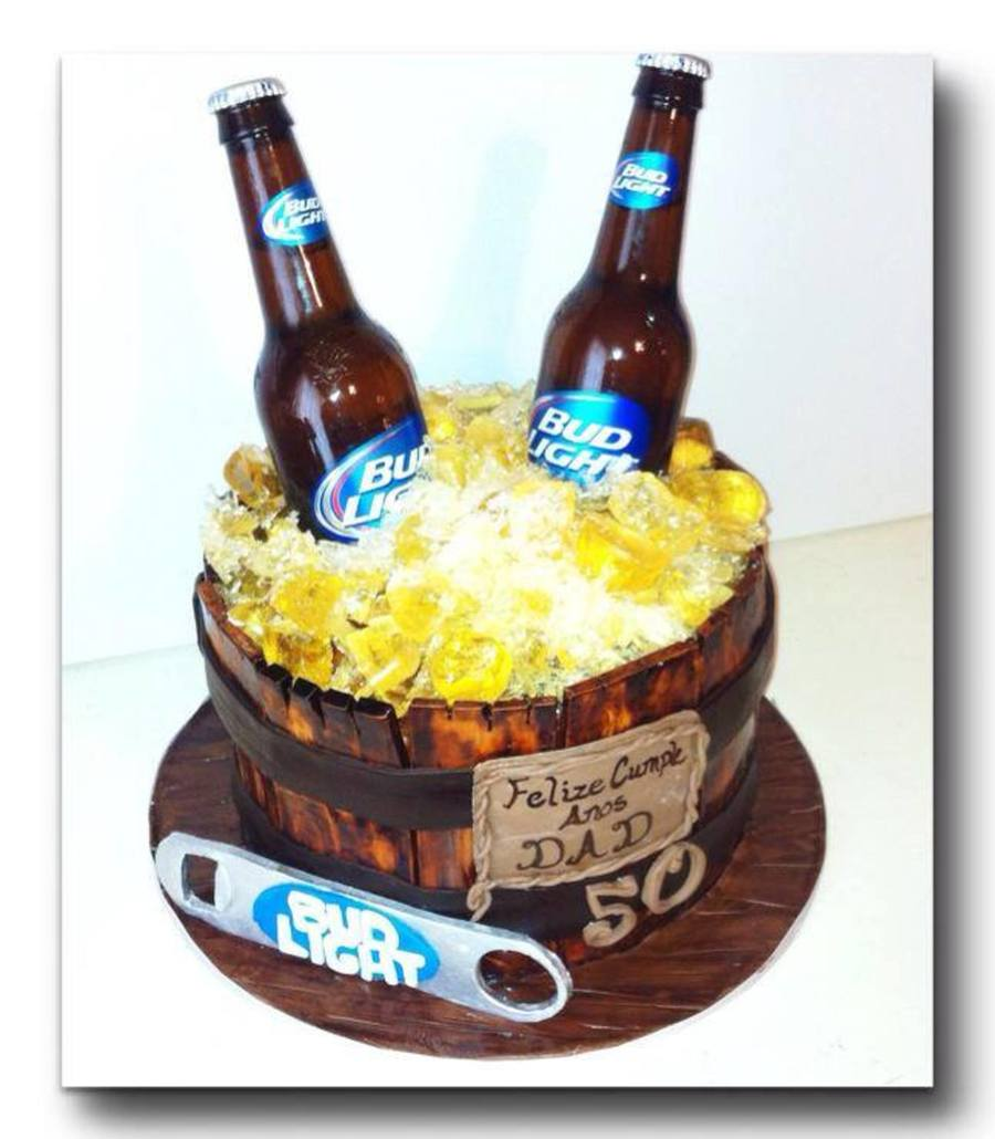 Wooden Beer Bucket Cake Filled With Sugar Ice Cubes And