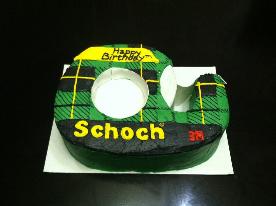 The Recipients Last Name Was Schoch So Her Cake Was Schoch Tape All Buttercream With Fondant Tape on Cake Central