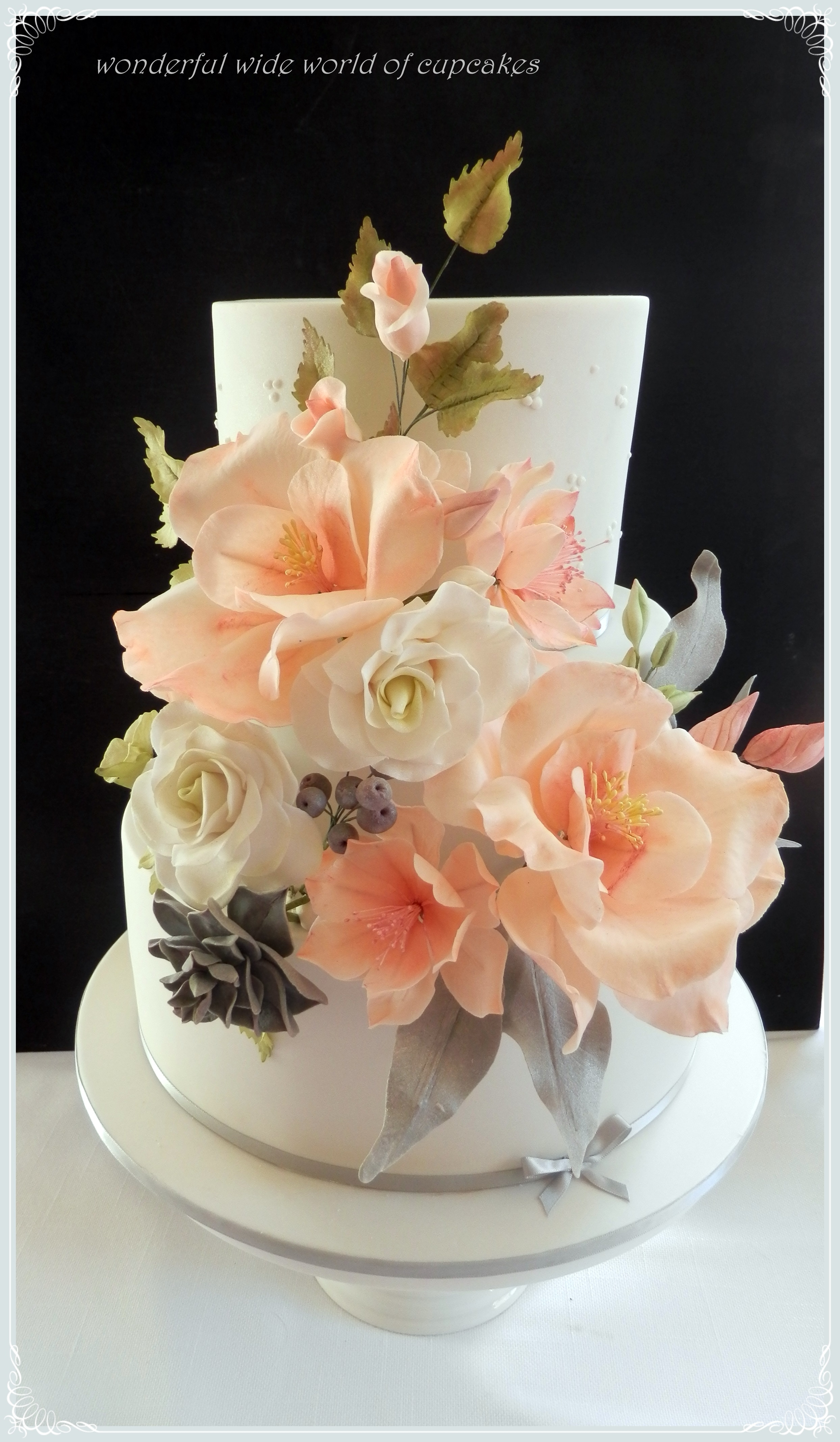 3 Tier Chocolate Wedding Cake With A Riot Of Sugar Flowers To Match The  Brides Bouquet. This Was A Little Bit Special As The Cake Was Made For My  Husbands ...
