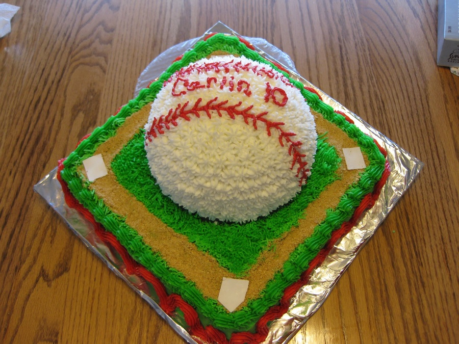 Baseball Theme Cake All Buttercream CakeCentralcom