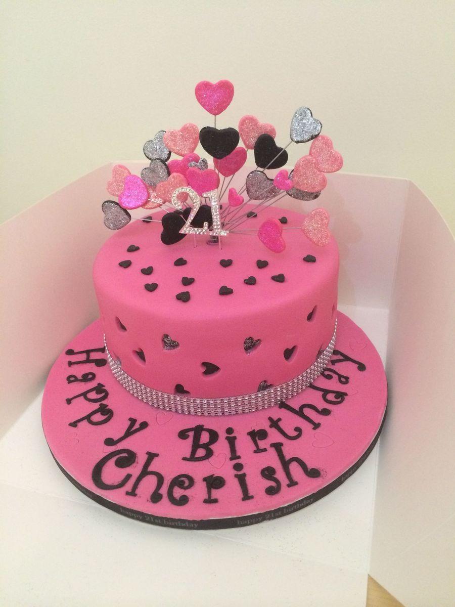 Enjoyable Pink Black And Silver Heart Theme Birthday Cake Cakecentral Com Funny Birthday Cards Online Amentibdeldamsfinfo