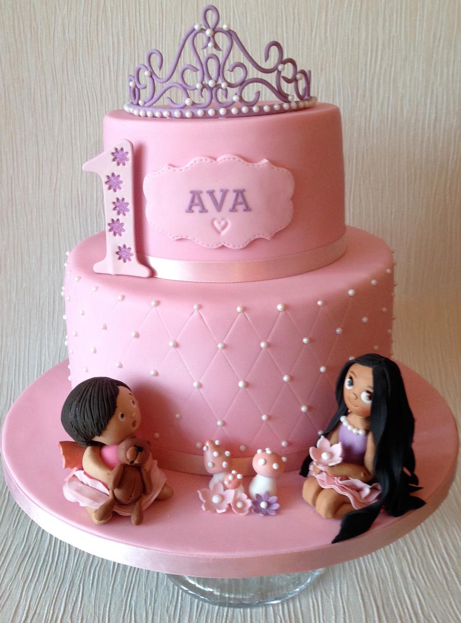 Avas First Birthday Cake 2 Tiers Of Neapolitan Sponge And