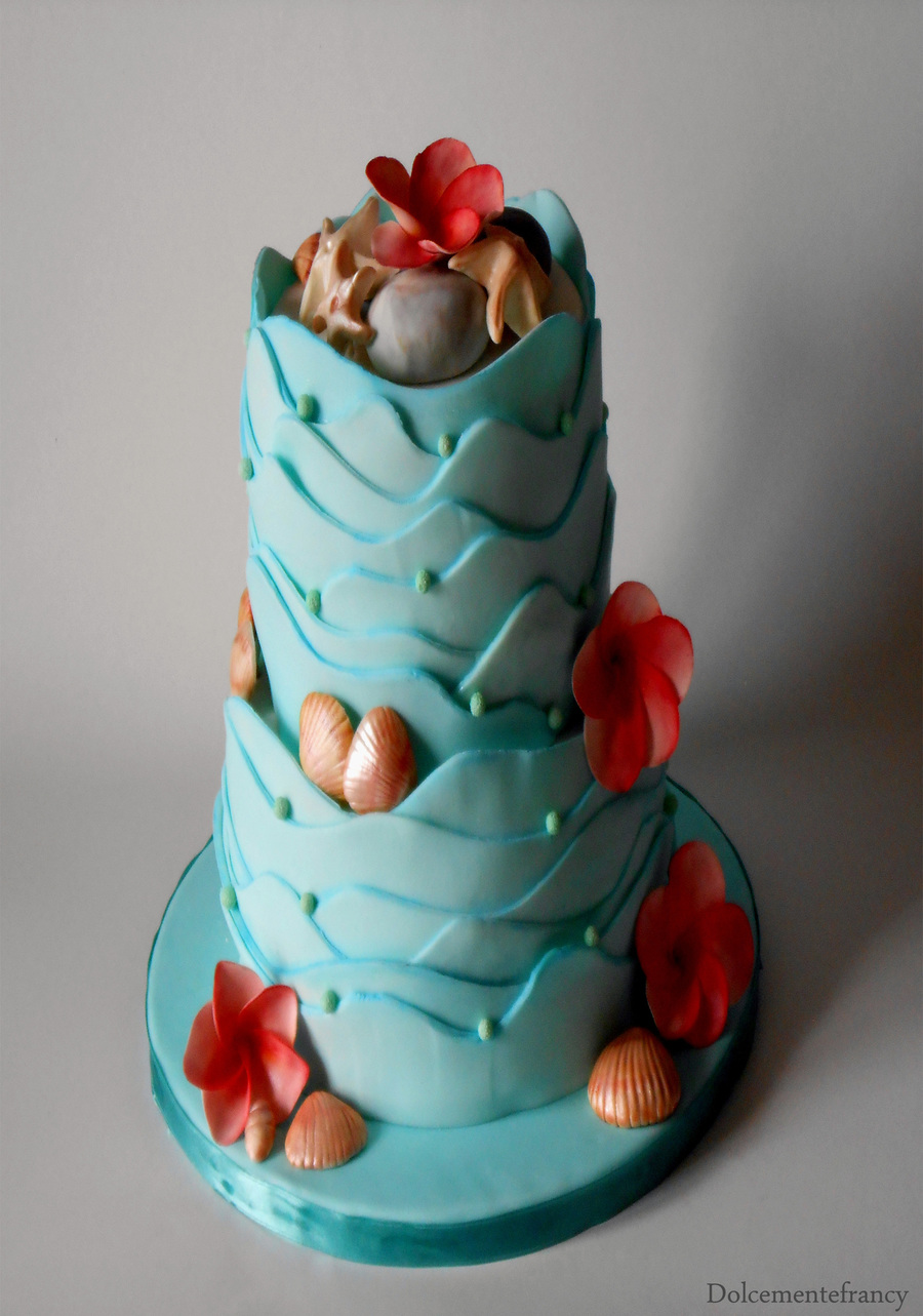 Cake Central Edible Images : Caribbean Theme For This Two Storey Wedding Cake Covered ...